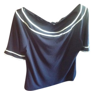 The Limited Like New Top Navy blue with white stripes