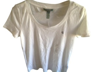 Ralph Lauren Round Neck With Tags Polo Emblem T Shirt White