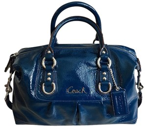 Coach Leather Patent Leather Carryall Satchel in Blue