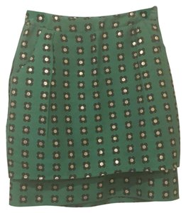 Anthropologie Mini Skirt green, navy, gold