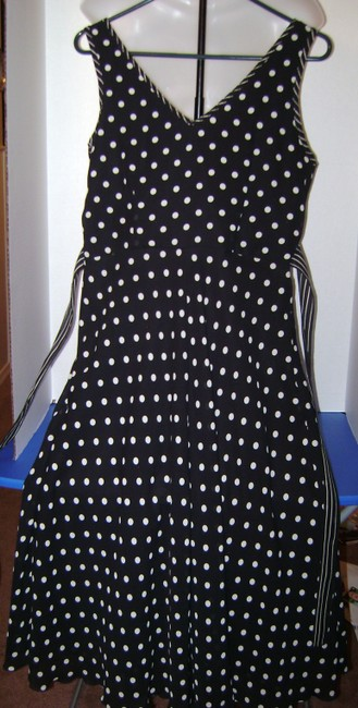 Black with white polka dots Maxi Dress by Jonathan Martin Office Appropriate Party Summer Wedding Image 1