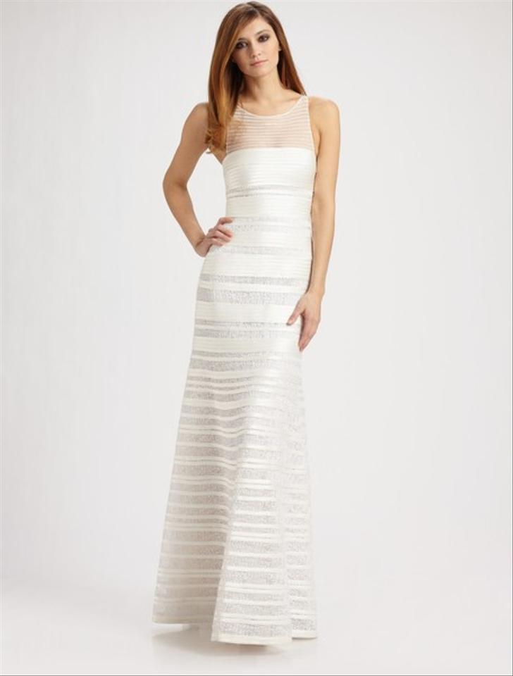 BCBGMAXAZRIA White Brooke Centurian Satin Gown Formal Wedding Dress ...