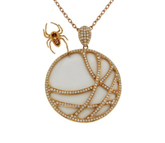 Luxo Jewelry 1.45 CT Diamonds 18K Rose Gold Tow Side Spider Pendant Necklace Image 3