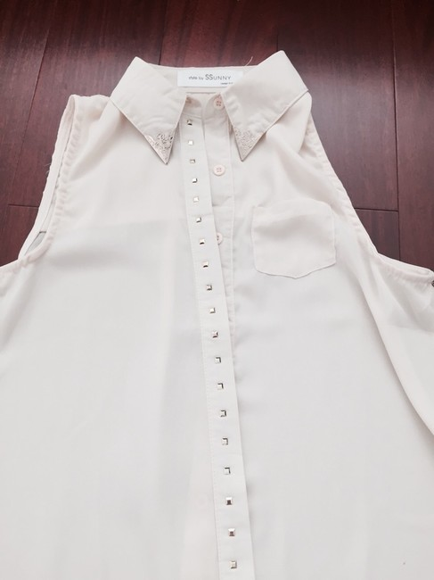 YesStyle Studded Sheer Cute White Sheer Button Up Studded Button Up Studded Rockstuds Sheer Top Cream Image 1
