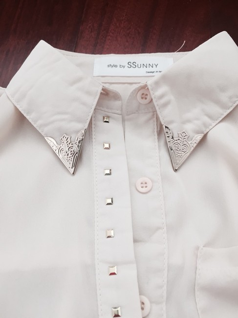 YesStyle Studded Sheer Cute White Sheer Button Up Studded Button Up Studded Rockstuds Sheer Top Cream Image 2