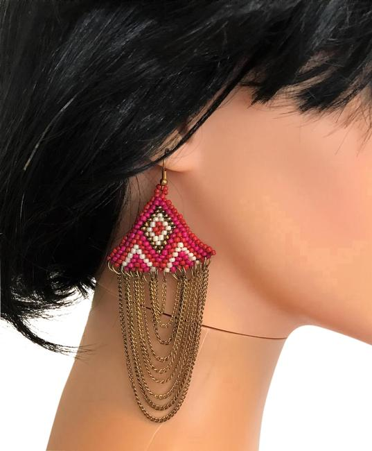 Pink Chains with Beads Earrings Pink Chains with Beads Earrings Image 1