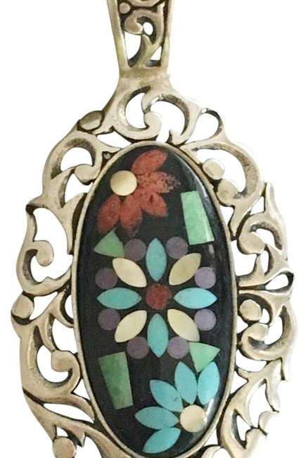 Silver Inlay Gem Large Pendant Necklace Silver Inlay Gem Large Pendant Necklace Image 1