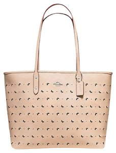 Coach Leather Perforated Tote in Beechwood tan beige