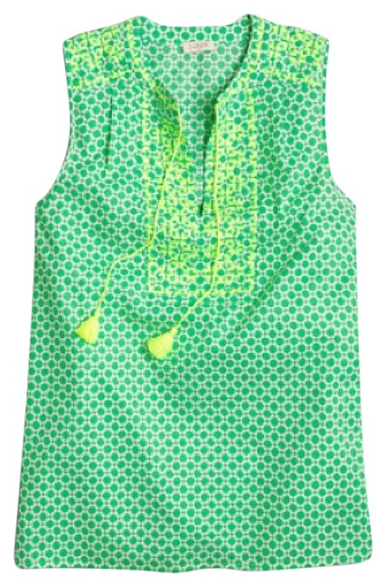 Preload https://img-static.tradesy.com/item/21375159/jcrew-neon-green-printed-embroidered-tasseled-tank-blouse-size-petite-6-s-0-1-650-650.jpg