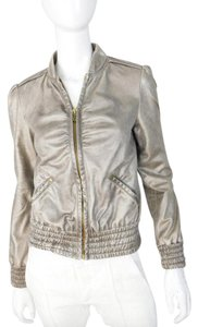 Miss Sixty Metallic Faux Vegan Gold Leather Jacket