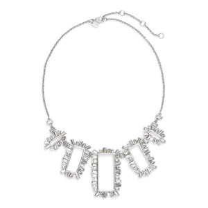 Alexis Bittar Silver Crystal Miss Havisham Open Frame Statement Necklace