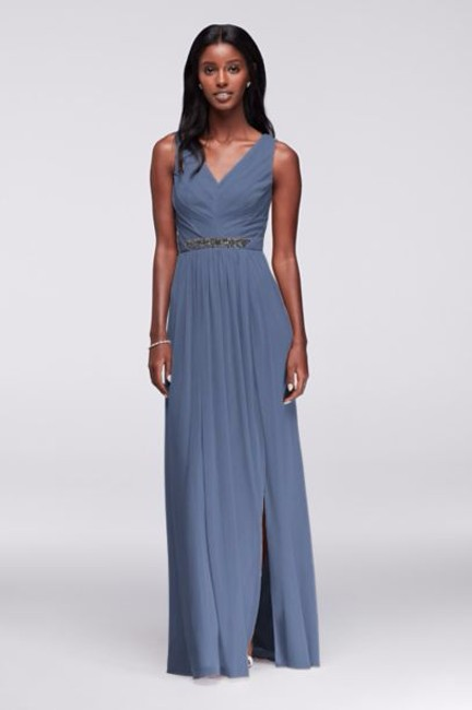 Item - Steel Blue Polyester Long with V-neck and Beaded Waistband Formal Bridesmaid/Mob Dress Size 6 (S)