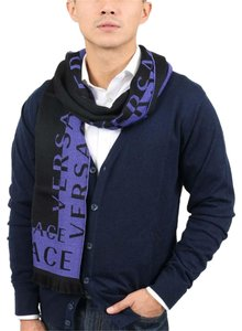 Versace Versace Purple 100% Wool Mens Scarf