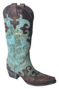 Lane Boots Cowboy Leather Snip Turquoise Boots