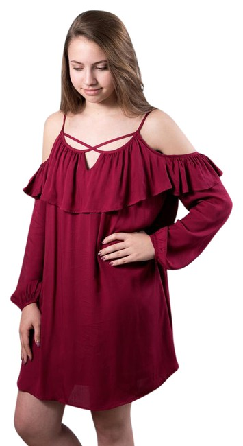 Preload https://img-static.tradesy.com/item/21375575/deep-red-off-the-shoulder-short-casual-dress-size-os-one-size-0-1-650-650.jpg