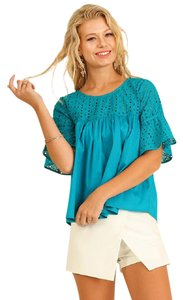 Umgee Eyelet Summer Babydoll Top Teal