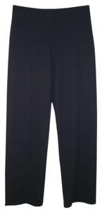 Eileen Fisher Wool Viscose Knit Straight Pants Black