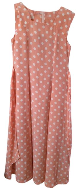 Preload https://img-static.tradesy.com/item/2137597/coral-with-white-polka-dots-summer-party-mid-length-casual-maxi-dress-size-8-m-0-0-650-650.jpg
