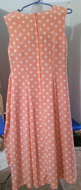 Coral with white polka dots Maxi Dress by B.T.N. Summer Party Image 1