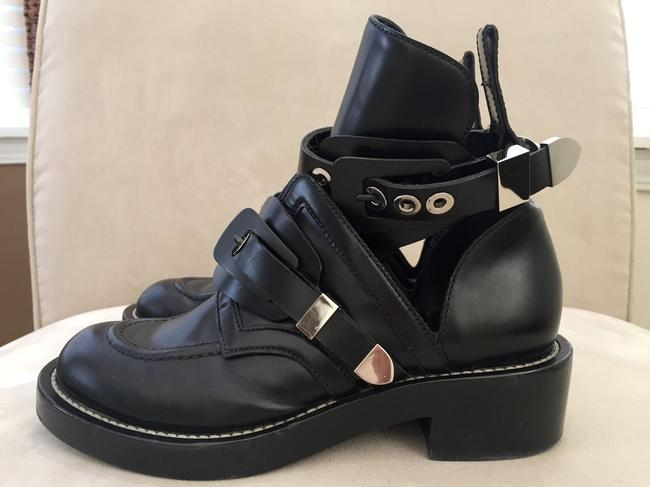 Item - Black Cut-out Ankle Ankle Strap Biker Buckle Flat Silver Hardware Boots/Booties Size US 7.5 Regular (M, B)
