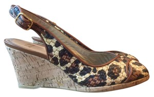 Stuart Weitzman Animal Print Raffia Sandals Multi Wedges