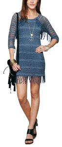 Free People short dress Blue Long Sleeve Mini Nightcap Clothing Fp Lace Fitted Bodycon Fringed Tunic on Tradesy