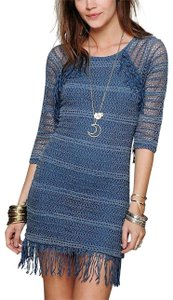 Nightcap short dress Denim Blue Long Sleeve Mini Clothing Fp Free People Lace Fitted Bodycon Fringed Tunic on Tradesy