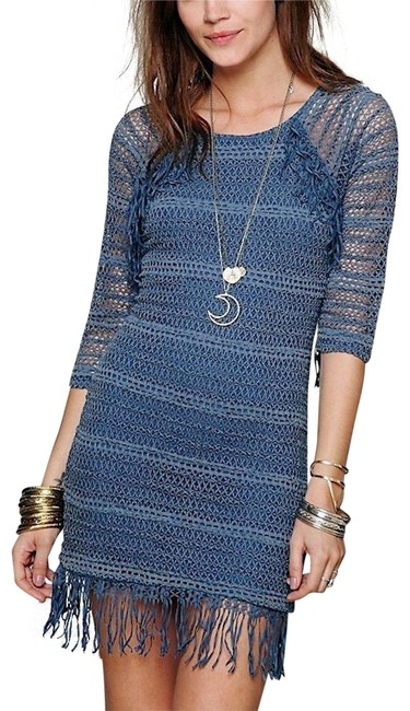 Nightcap short dress Denim Blue Long Sleeve Mini Clothing Fp Free People Lace Fitted Bodycon Fringed Tunic on Tradesy Image 0