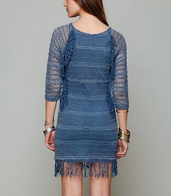 Nightcap short dress Denim Blue Long Sleeve Mini Clothing Fp Free People Lace Fitted Bodycon Fringed Tunic on Tradesy Image 2