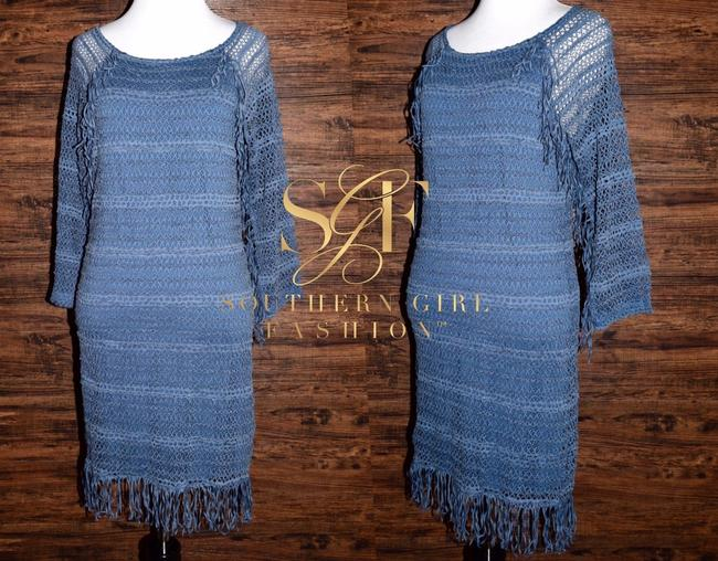 Nightcap short dress Denim Blue Long Sleeve Mini Clothing Fp Free People Lace Fitted Bodycon Fringed Tunic on Tradesy Image 5