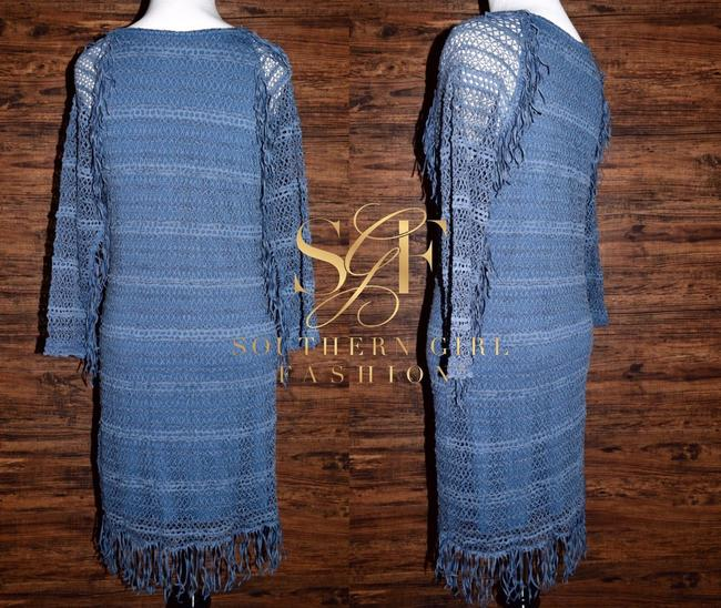 Nightcap short dress Denim Blue Long Sleeve Mini Clothing Fp Free People Lace Fitted Bodycon Fringed Tunic on Tradesy Image 6