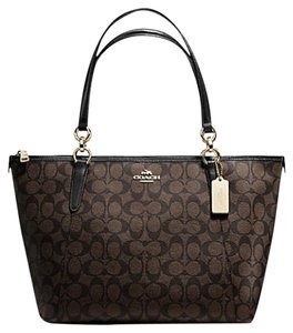Coach Satchel Leather Satchel Handbag 35808 Tote in black signature gold