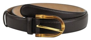 Gucci Women's Cocoa Brown Leather Belt w/Bamboo Buckle 90/36 322954 2140