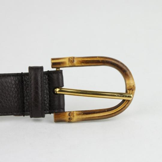 Gucci Women's Cocoa Brown Leather Belt w/Bamboo Buckle 90/36 322954 2140 Image 3