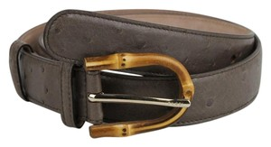 Gucci Grey Ostrich Leather Belt With Bamboo Buckle 90/36 322954 2137