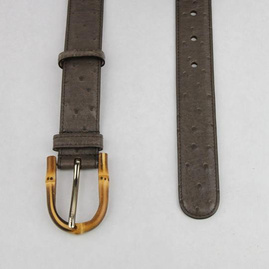 Gucci Grey Ostrich Leather Belt With Bamboo Buckle 90/36 322954 2137 Image 1