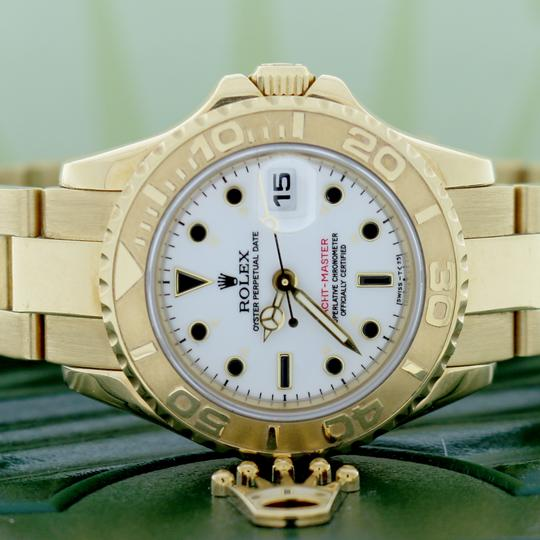 Rolex Rolex Yacht-Master Ladies 18K Yellow Gold 29mm White Dial Oyster Watch Image 1