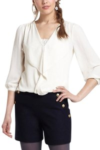 Anthropologie Ruffle Top Cream