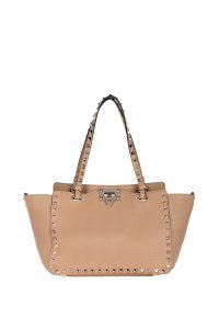 Valentino Leather Tote in Nude/Beige