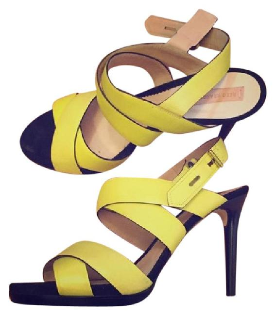 Item - Yellow Boxer Strappy Leather Heel Sandals Size US 9.5 Regular (M, B)