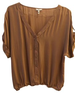 Joie Silk Feminine Buttons Top mousse, tan, pink/tan