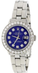 Rolex Rolex Datejust Ladies 26mm Steel Oyster w/Blue Diamond Dial & Bezel