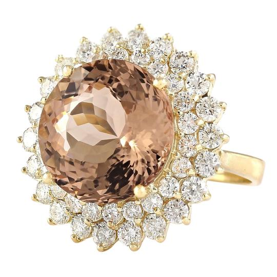 Fashion Strada 11.51 Carat Natural Morganite 14K Yellow Gold Diamond Ring Image 1