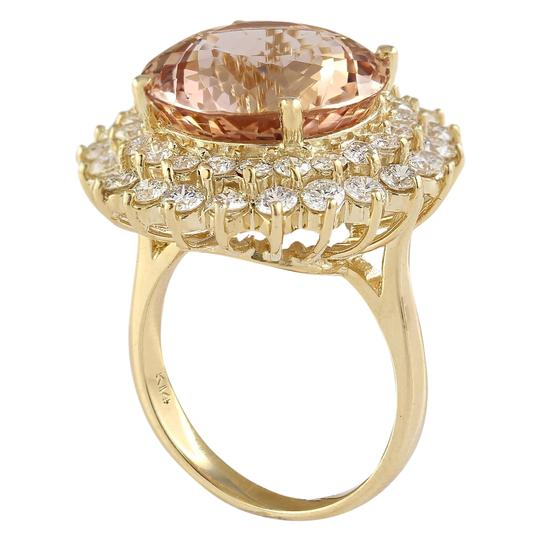 Fashion Strada 11.51 Carat Natural Morganite 14K Yellow Gold Diamond Ring Image 2