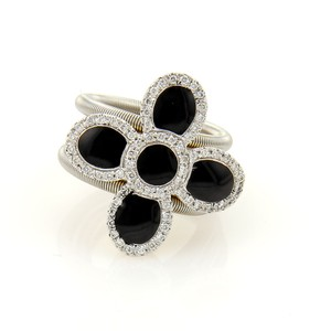 Roberto Coin #16382 Roberto Coin Diamonds & Onyx Flower 18k Two Tone Cocktail Ring