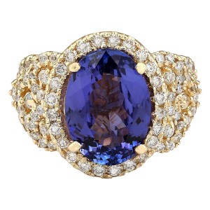 Fashion Strada 7.55 Carat Natural Tanzanite 14K Yellow Gold Diamond Ring
