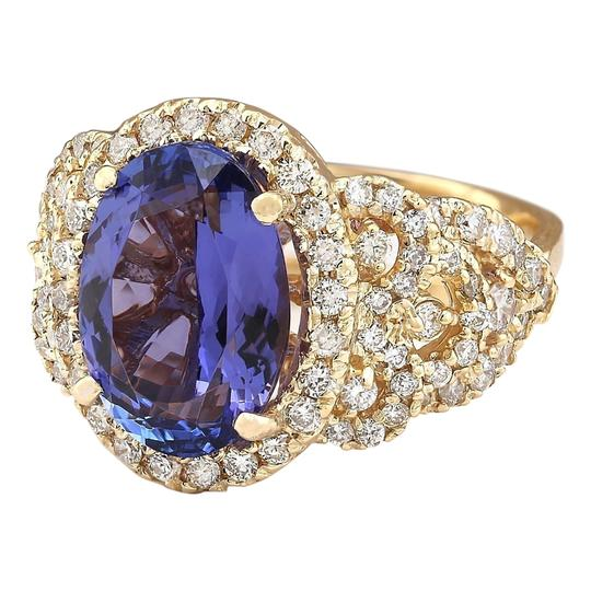 Fashion Strada 7.55 Carat Natural Tanzanite 14K Yellow Gold Diamond Ring Image 1