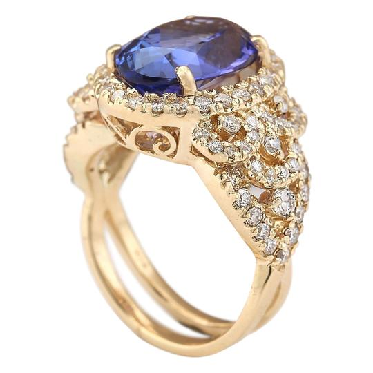 Fashion Strada 7.55 Carat Natural Tanzanite 14K Yellow Gold Diamond Ring Image 2