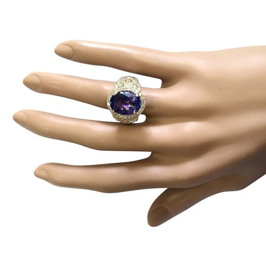 Fashion Strada 7.55 Carat Natural Tanzanite 14K Yellow Gold Diamond Ring Image 3