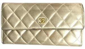 Chanel Authentic Chanel Quilted Long Wallet
